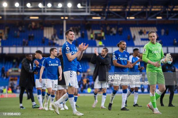 Michael Keane of Everton applauds after the Premier League match between Everton and Wolverhampton Wanderers at Goodison Park on MAY 19 2021 in...