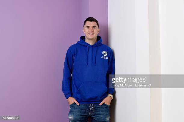 Michael Keane of Everton attends an Everton in the Community event on September 11 2017 in Liverpool England