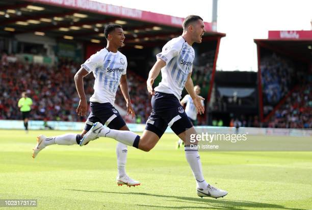 Michael Keane of Everton celebrates after scoring his team's second goal during the Premier League match between AFC Bournemouth and Everton FC at...