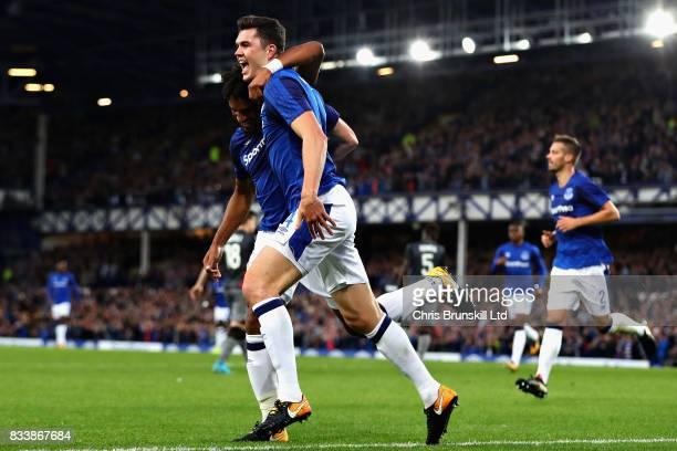 Michael Keane of Everton celebrates scoring the opening goal during the UEFA Europa League Qualifying PlayOffs round first leg match between Everton...