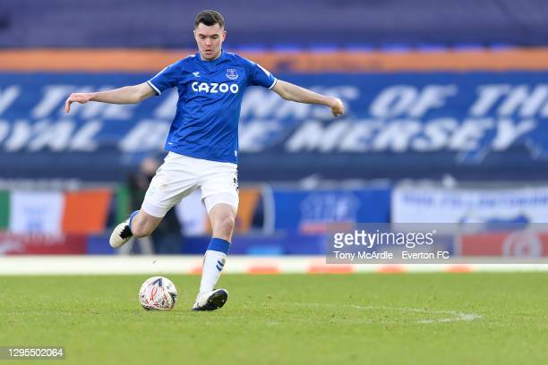Michael Keane of Everton during the FA Cup Third Round match between Everton and Rotherham United at Goodison Park on January 9 2021 in Liverpool,...