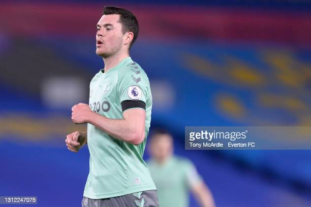 Michael Keane of Everton during the Premier League match between Brighton and Hove Albion and Everton at the American Express Community Stadium on...