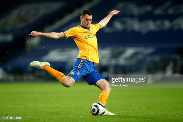 Michael Keane of Everton during the Premier League match between West Bromwich Albion and Everton at The Hawthorns on March 4, 2021 in West Bromwich,...
