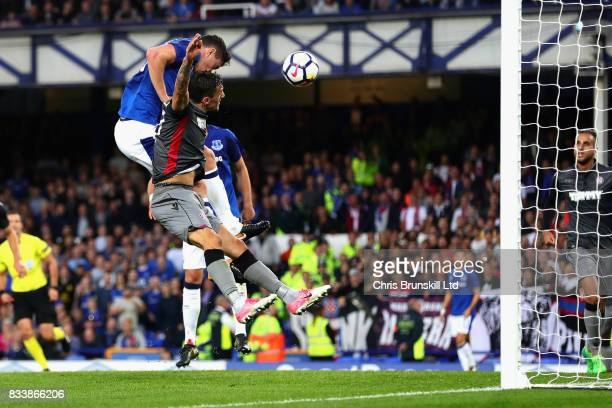 Michael Keane of Everton heads the opening goal during the UEFA Europa League Qualifying PlayOffs round first leg match between Everton FC and Hajduk...