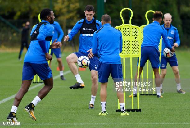 Michael Keane of Everton in action during the Everton FC training session at USM Finch Farm on September 7 2017 in Halewood England