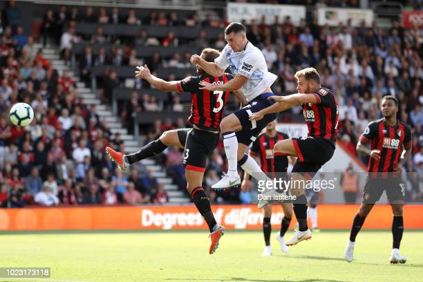 Michael Keane of Everton scores his team's second goal during the Premier League match between AFC Bournemouth and Everton FC at Vitality Stadium on...