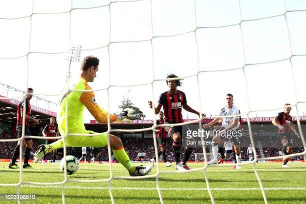 Michael Keane of Everton scores his team's second goal past Asmir Begovic of AFC Bournemouth during the Premier League match between AFC Bournemouth...
