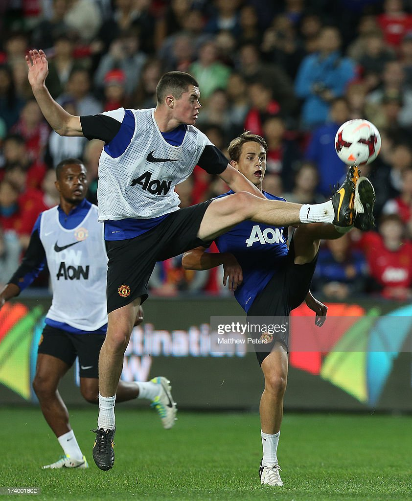 Michael Keane of Manchester United in action during a first team training session as part of their pre-season tour of Bangkok, Australia, China, Japan and Hong Kong on July 19, 2013 in Sydney, Australia.