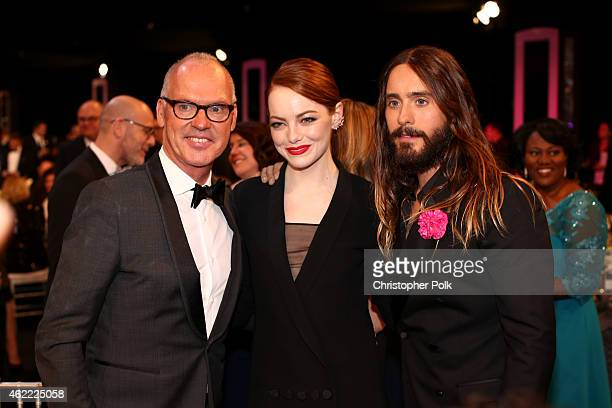 Michael Keaton, Emma Stone, and Jared Leto attend TNT's 21st Annual Screen Actors Guild Awards at The Shrine Auditorium on January 25, 2015 in Los...