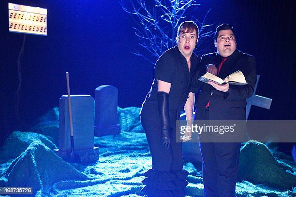 LIVE Michael Keaton Episode 1679 Pictured Taran Killam as Delia Deetz and Bobby Moynihan as Otho during the monologue on April 4 2015