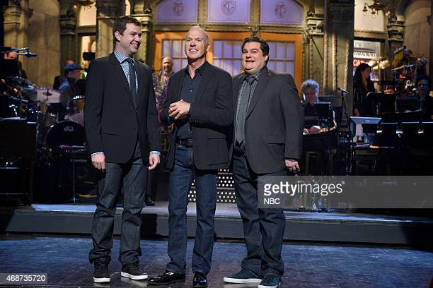 LIVE Michael Keaton Episode 1679 Pictured Taran Killam Michael Keaton and Bobby Moynihan during the monologue on April 4 2015