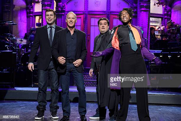 LIVE Michael Keaton Episode 1679 Pictured Taran Killam Michael Keaton Bobby Moynihan and Jay Pharoah during the monologue on April 4 2015