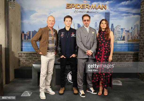 Michael Keaton Tom Holland Robert Downey Jr and Marisa Tomei attend the 'SpiderMan Homecoming' Photo Call at the Whitby Hotel on June 25 2017 in New...