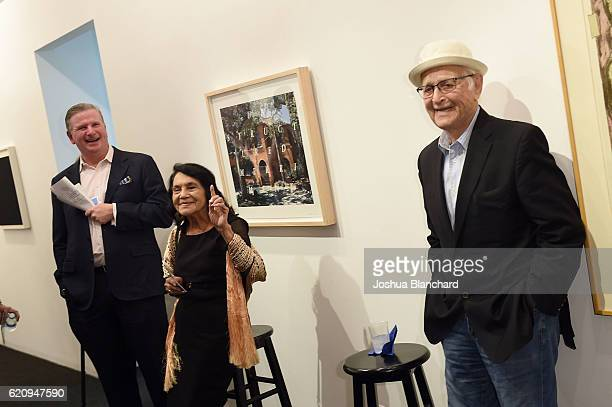 Michael Keegan Dolores Huerta and Norman Lear attend Get Out The Vote Celebration for People For The American Way on November 3 2016 in Los Angeles...