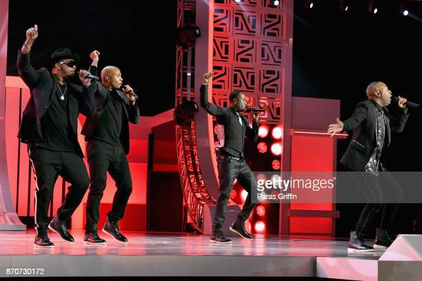 Michael Keith Daron Jones Quinnes Diamond 'Q' Parker and Marvin 'Slim'Scandrick of 112 perform onstage at the 2017 Soul Train Awards presented by BET...