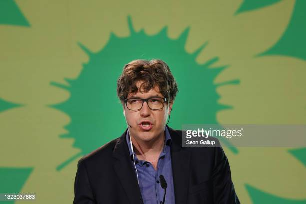 Michael Kellner, party secretary of the German Greens Party, speaks to delegates in a virtual federal party congress on June 11, 2021 in Berlin,...