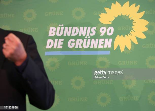 Michael Kellner, secretary general of the German Green Party, speaks to supporters after exit polls indicated 22% of votes in his party's favor in...
