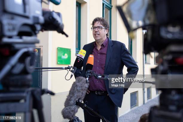 Michael Kellner, secretary general of the German Green Party speaks to the media the day after elections in the eastern German states of Brandenburg...