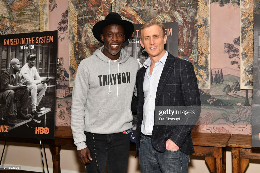 Michael Kenneth Williams (L) and Dan Abrams attend the 'Vice' Season 6 Premiere at the Whitby Hotel on April 3, 2018 in New York City.