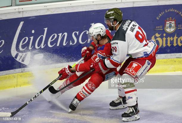 Michael Kernberger, of EC KAC, Michael Halmo of HCB Suedtirol Alperia battle for the ball during the Bet-at-home Ice Hockey League Playoff-final...