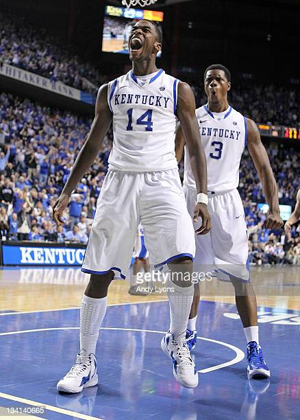 Michael KiddGilchrist and Terrence Jones of the Kentucky Wildcasts celebrate during the game against the Portland Pilots at Rupp Arena on November 26...