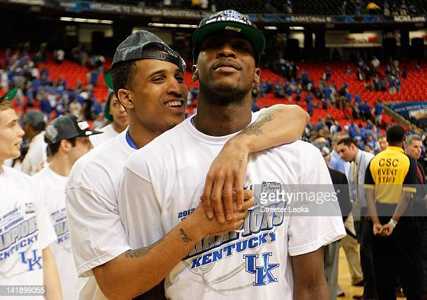 Michael Kidd-Gilchrist and Twany Beckham of the Kentucky Wildcats celebrate their 82 to 70 win over the Baylor Bears during the 2012 NCAA Men's...