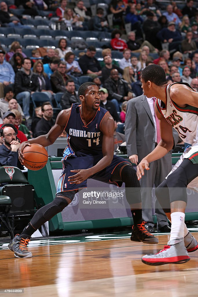 Michael Kidd-Gilchrist #14 of the Charlotte Bobcats dribbles the ball against the Milwaukee Bucks on March 16, 2014 at the BMO Harris Bradley Center in Milwaukee, Wisconsin.