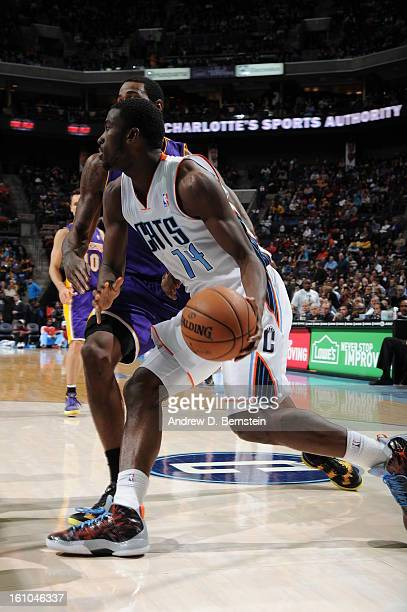 Michael KiddGilchrist of the Charlotte Bobcats drives against the Los Angeles Lakers on February 8 2013 at the Time Warner Cable Arena in Charlotte...