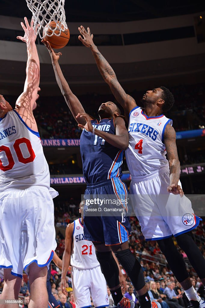 Michael Kidd-Gilchrist #14 of the Charlotte Bobcats drives to the basket against the Philadelphia 76ers at the Wells Fargo Center on March 30, 2013 in Philadelphia, Pennsylvania.