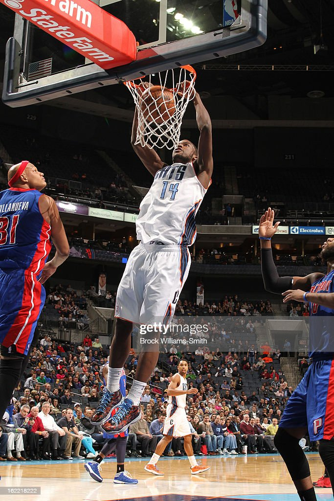Michael Kidd-Gilchrist #14 of the Charlotte Bobcats dunks against the Detroit Pistons at the Time Warner Cable Arena on February 20, 2013 in Charlotte, North Carolina.