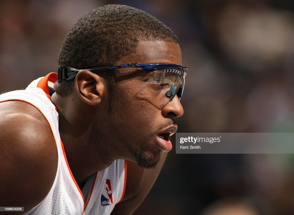 Michael Kidd-Gilchrist #14 of the Charlotte Bobcats is seen in his new glasses during the game against the New Orleans Hornets at the Time Warner Cable Arena on December 29, 2012 in Charlotte, North Carolina.