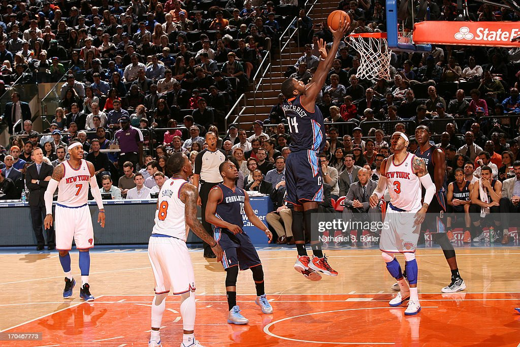 Michael Kidd-Gilchrist #14 of the Charlotte Bobcats shoots a layup against the New York Knicks on March 29, 2013 at Madison Square Garden in New York City.