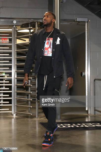 Michael KiddGilchrist of the Charlotte Hornets arrives at the arena before the game against the New Orleans Pelicans on December 2 2018 at Spectrum...