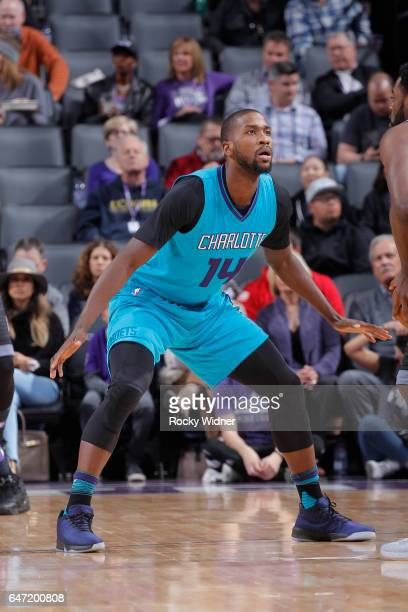 Michael KiddGilchrist of the Charlotte Hornets defends against the Sacramento Kings on February 25 2017 at Golden 1 Center in Sacramento California...