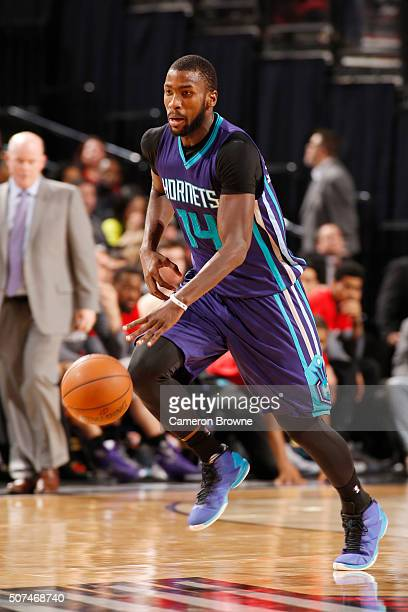 Michael KiddGilchrist of the Charlotte Hornets drives to the basket against the Portland Trail Blazers during the game on January 29 2016 at Moda...