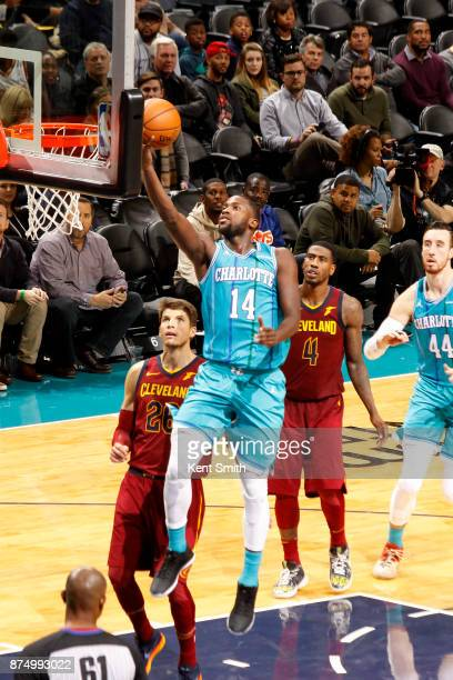 Michael KiddGilchrist of the Charlotte Hornets drives to the basket against the Cleveland Cavaliers on November 15 2017 at Spectrum Center in...
