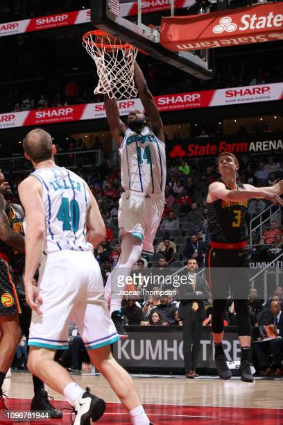 Michael KiddGilchrist of the Charlotte Hornets dunks the ball against the Atlanta Hawks on February 9 2019 at State Farm Arena in Atlanta Georgia...