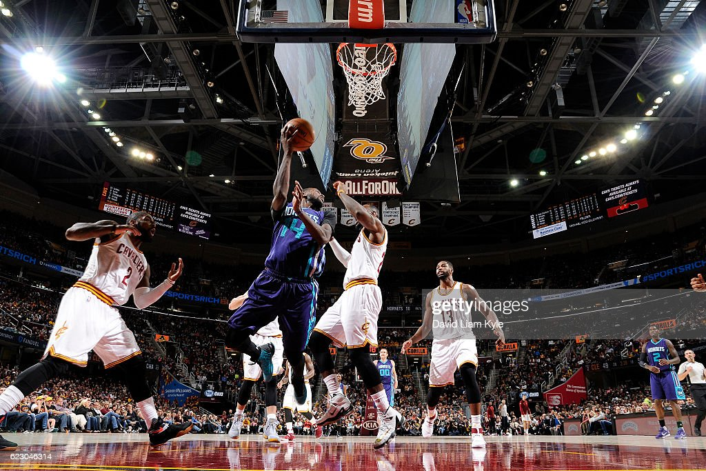 Michael Kidd-Gilchrist #14 of the Charlotte Hornets goes for the lay up during the game against the Cleveland Cavaliers on November 13, 2016 at Quicken Loans Arena in Cleveland, Ohio.