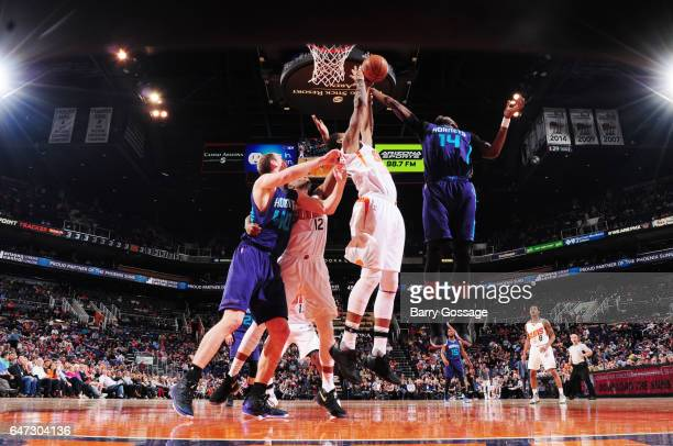 Michael KiddGilchrist of the Charlotte Hornets grabs the rebound against the Phoenix Suns during the game on March 2 2017 at Talking Stick Resort...
