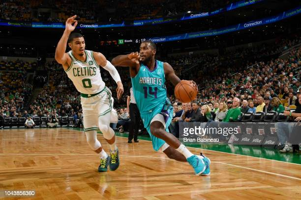 Michael KiddGilchrist of the Charlotte Hornets handles the ball against the Boston Celtics during a preseason game on September 30 2018 at the TD...
