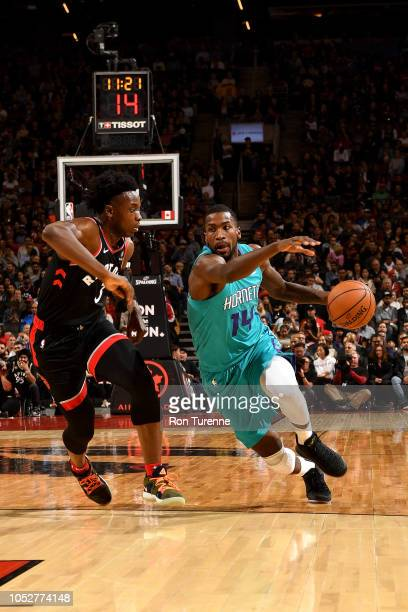 Michael KiddGilchrist of the Charlotte Hornets handles the ball against the Toronto Raptors on October 22 2018 at the Scotiabank Arena in Toronto...