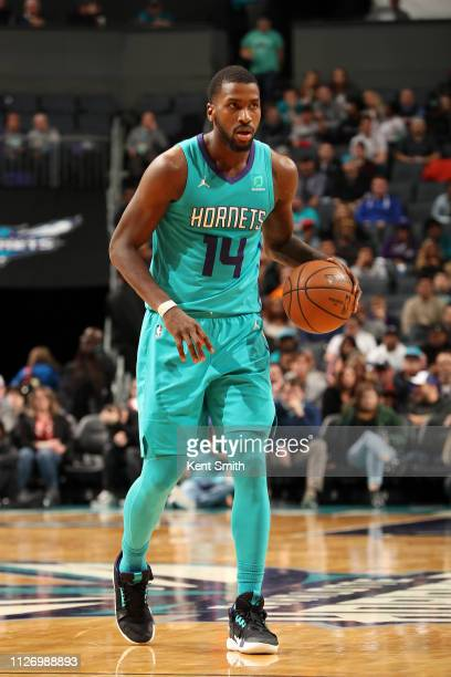 Michael KiddGilchrist of the Charlotte Hornets handles the ball against the Brooklyn Nets on February 23 2019 at Spectrum Center in Charlotte North...