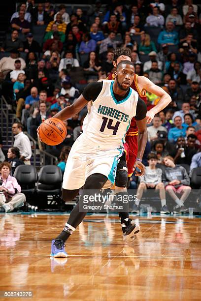 Michael KiddGilchrist of the Charlotte Hornets handles the ball during the game against the Cleveland Cavaliers on February 3 2016 at Time Warner...