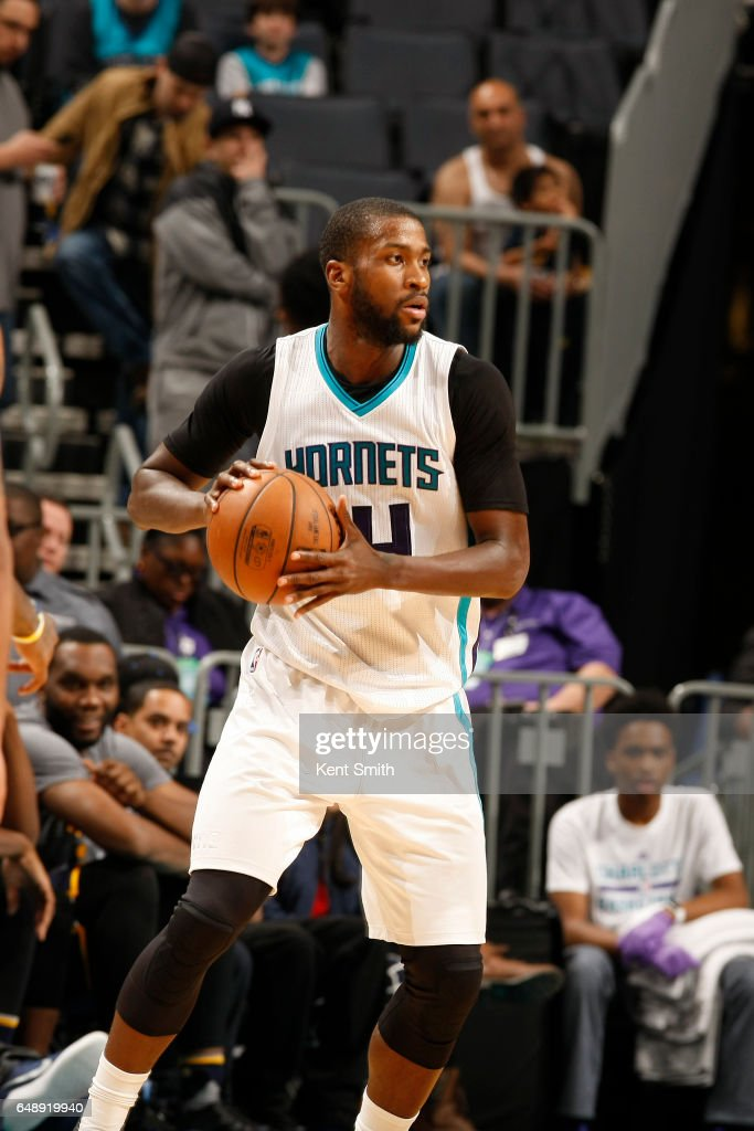 Michael Kidd-Gilchrist #14 of the Charlotte Hornets handles the ball against the Indiana Pacers on March 6, 2017 at Spectrum Center in Charlotte, North Carolina.