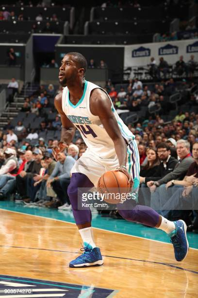 Michael KiddGilchrist of the Charlotte Hornets handles the ball against the Dallas Mavericks on January 10 2018 at Spectrum Center in Charlotte North...