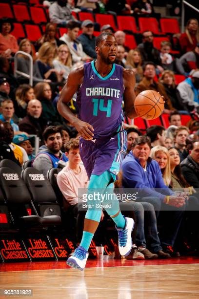 Michael KiddGilchrist of the Charlotte Hornets handles the ball during the game against the Detroit Pistons on January 15 2018 at Little Caesars...