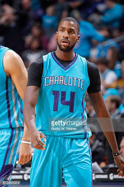 Michael KiddGilchrist of the Charlotte Hornets looks on during the game against the Washington Wizards on February 6 2016 at Time Warner Cable Arena...