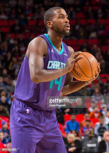 Michael KiddGilchrist of the Charlotte Hornets looks to pass the ball against the Detroit Pistons during the an NBA game at Little Caesars Arena on...