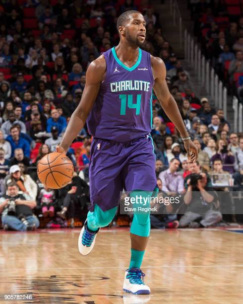 Michael KiddGilchrist of the Charlotte Hornets moves the ball up court against the Detroit Pistons during the an NBA game at Little Caesars Arena on...