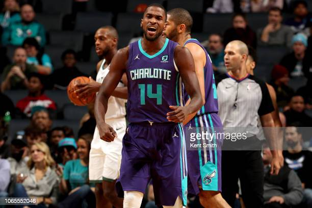 Michael KiddGilchrist of the Charlotte Hornets reacts against the Milwaukee Bucks on November 26 2018 at Spectrum Center in Charlotte North Carolina...